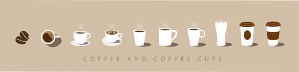 zestaw ikon kawy i filiżanki kawy. wektor - coffee stock illustrations