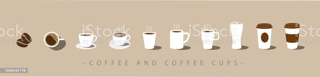 Set of Coffee and coffee cup icons. vector vector art illustration