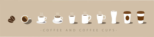 set of coffee and coffee cup icons. vector - coffee stock illustrations, clip art, cartoons, & icons