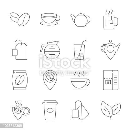 Set of Coffee and Tea  Line Icons. Contains such Icons as Cup of Tea, Teabags, Coffee beans and Green Tea Leaves, a pitcher of Water, Sugar Cubes and more. Editable Stroke. EPS 10