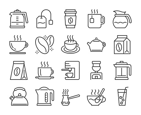 Set of Coffee and Tea Line Icons. Vector Illustration. Editable Stroke, 64x64 Pixel Perfect.