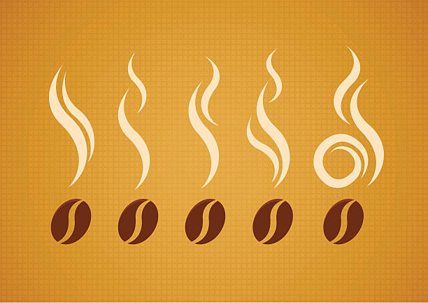 Set of coffee beans with steam Vector set of coffee beans with steam on abstract canvas background scented stock illustrations