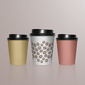 Vector illustration set of Coffee Cup - Mockup template for Cafe, Restaurant brand identity design. Black, yellow, Brown cardboard Coffee Cup Mockup. Disposable plastic and paper tableware template for Hot Drinks