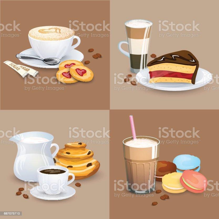 Satz Von Kaffeegetränke Süßigkeiten Und Backwaren Stock Vektor Art ...