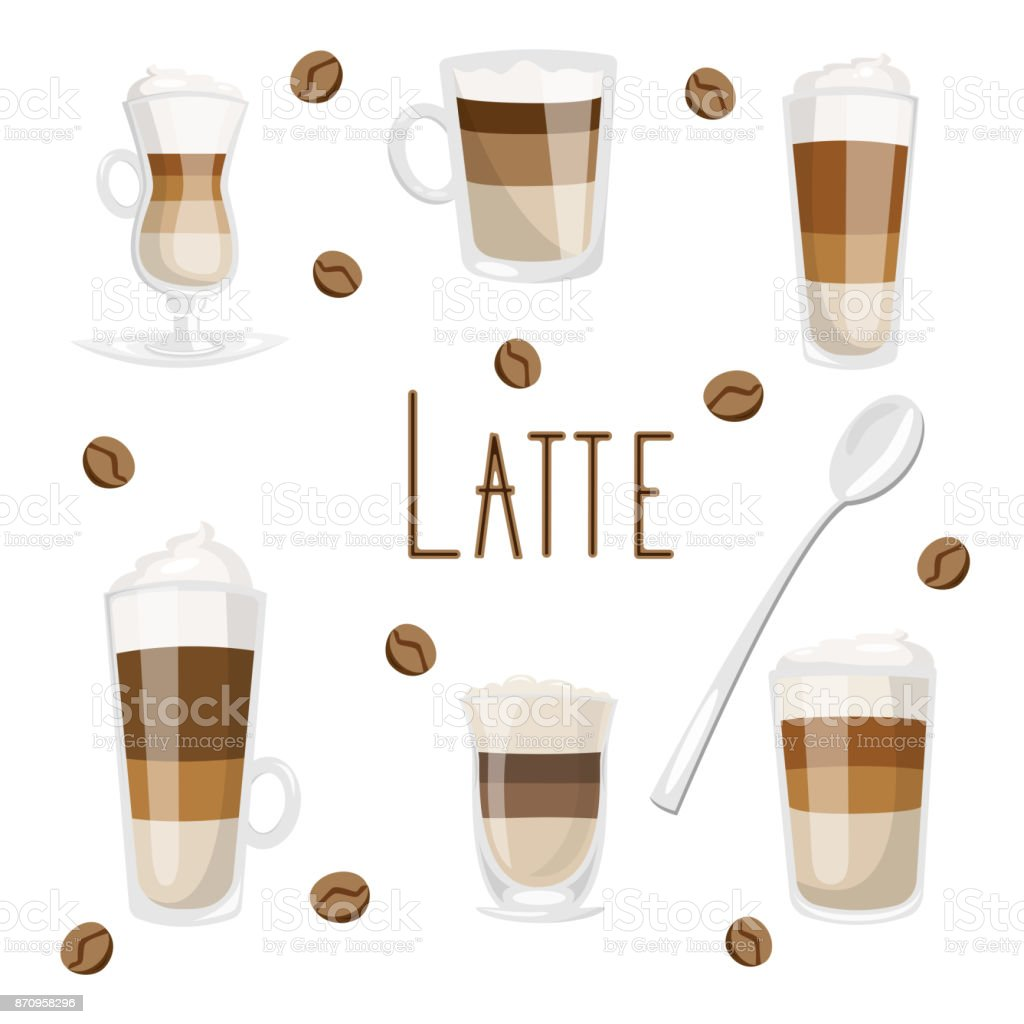 Set of coffee drinks with milk as caffe latte, macchiato, cappuccino, flat white, top with whipped cream vector art illustration