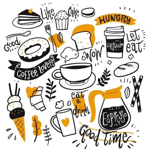 set von kaffee-ausrüstung - cafe stock-grafiken, -clipart, -cartoons und -symbole