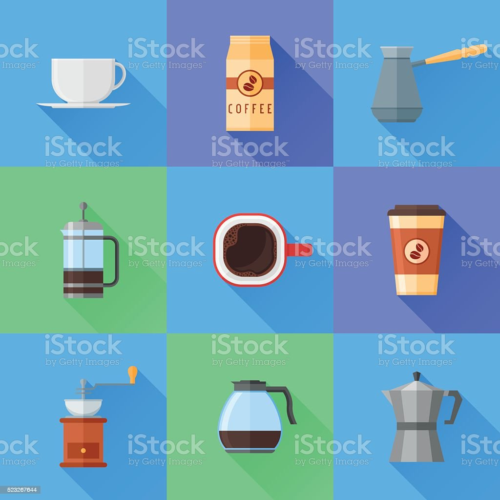 Set of coffee flat style icons with long shadow vector art illustration