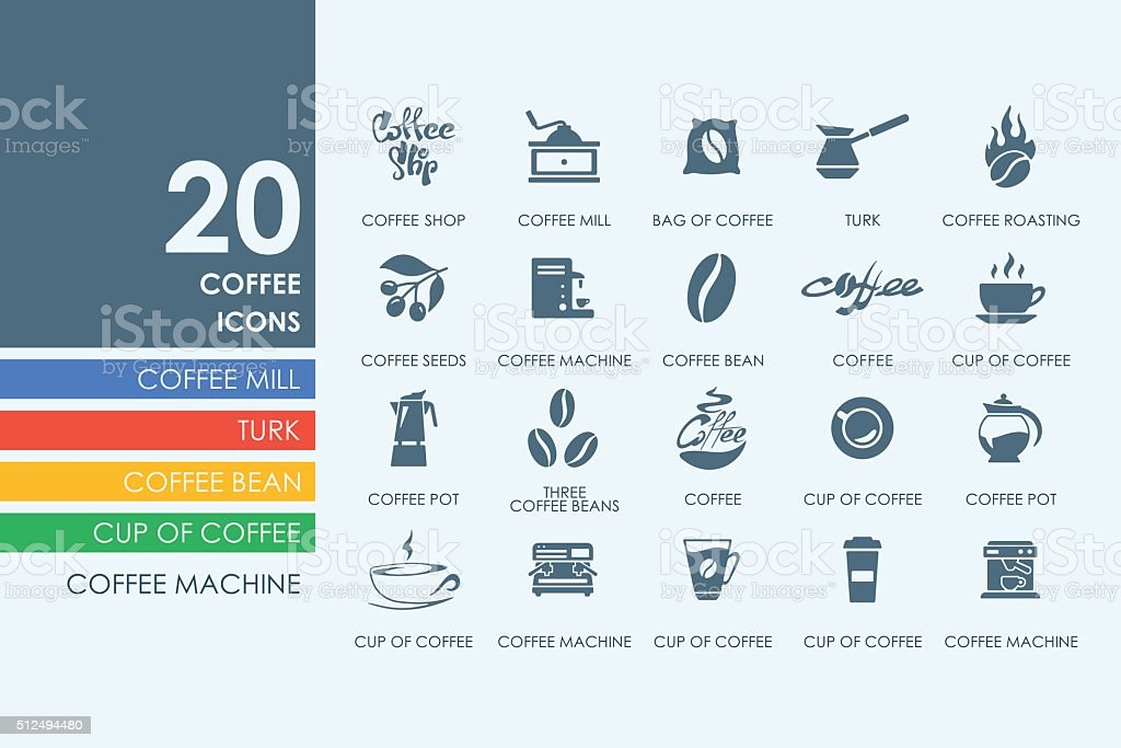 Set of coffee icons vector art illustration