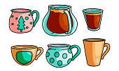 Set of isolated hand drawn coffee drinks in different pastel colored cups and mugs over white background vector illustration. Coffee lovers concept