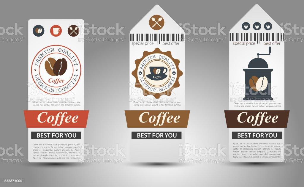 Set of coffee labels. vector art illustration