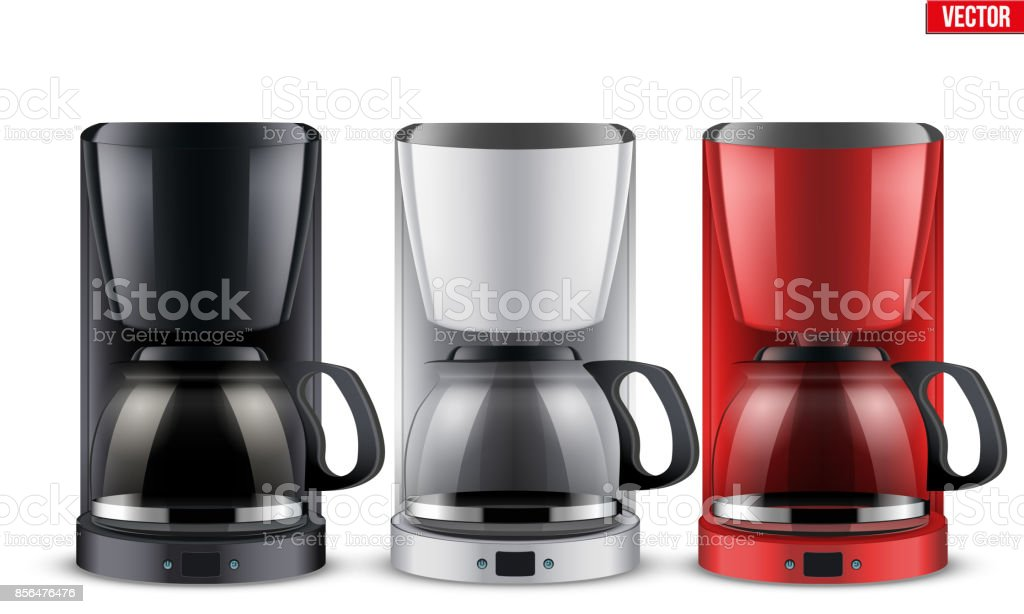 Set of Coffee maker with glass pot. vector art illustration