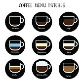 Set of coffee menu icons. Vector patches collection, infographic concept. Labels for web design or restaurant tea carte