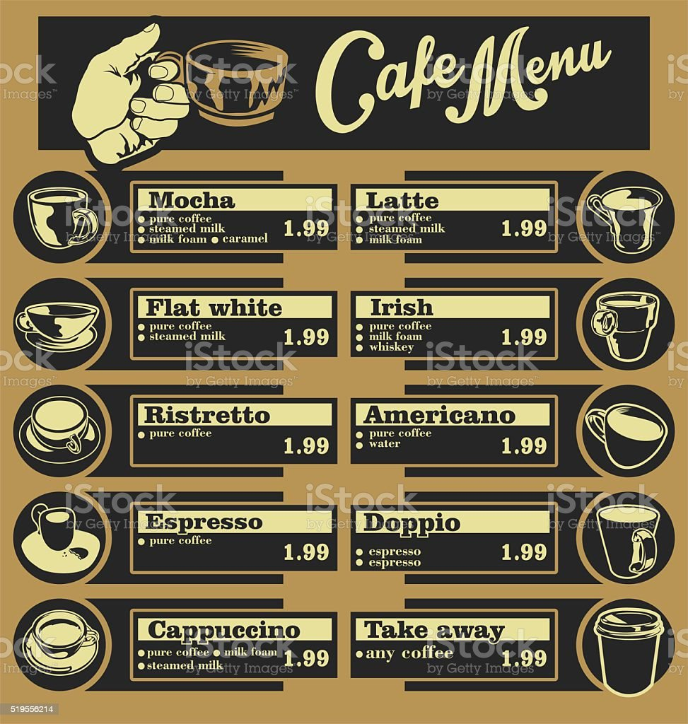 Set of coffee menu with a cups vector art illustration