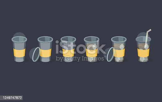 Set of coffee plastic cup. Can be used like a animation. Vector illustration.