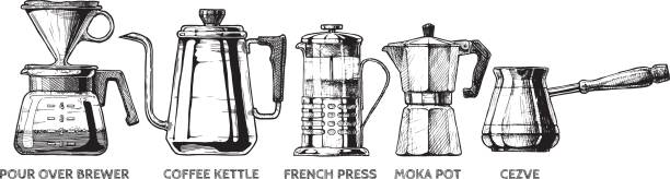 set of Coffee preparation Vector hand drawn illustration set of coffee preparation. Pour over brewer, coffee kettle, french press, moka pot and cezve. coffee pot stock illustrations