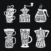 Set of coffee related typography. Quotes about coffee. Vintage vector illustrations. Trendy creative design elements for prints, posters, decorative needs.