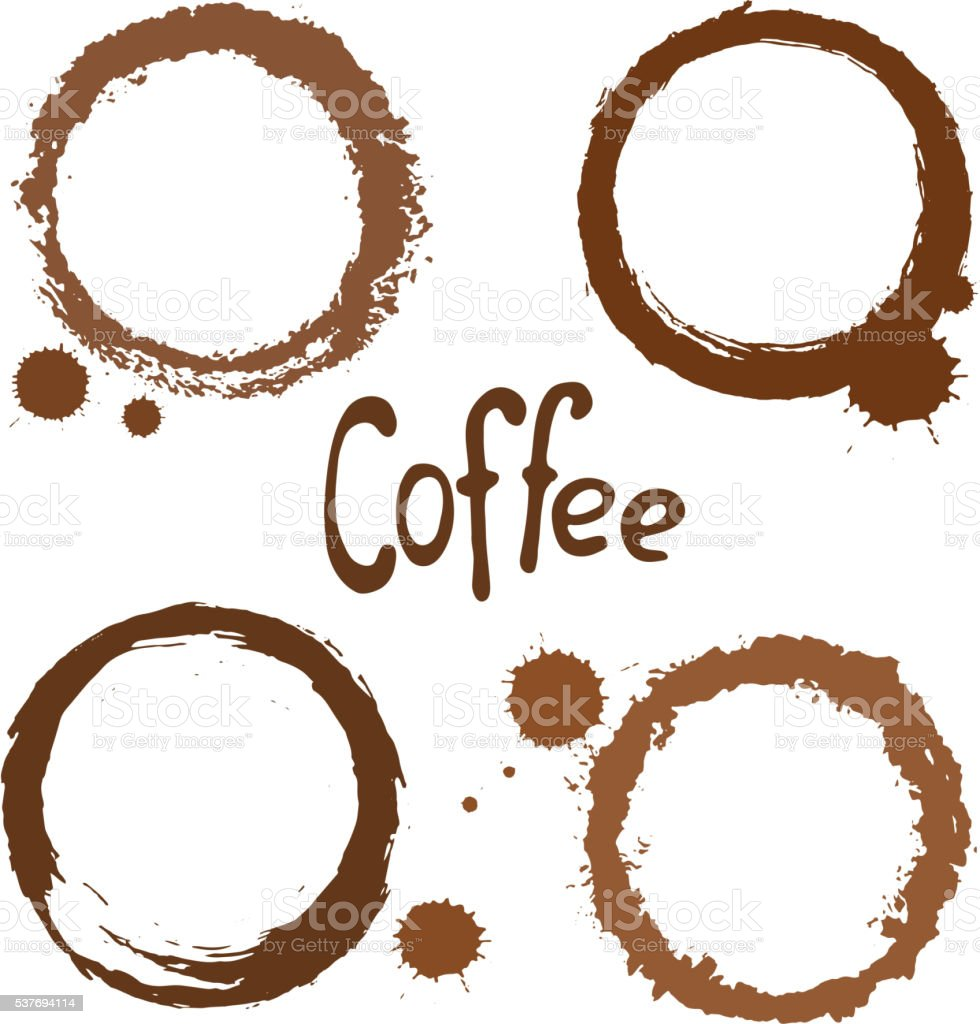 Set of coffee stains vector art illustration