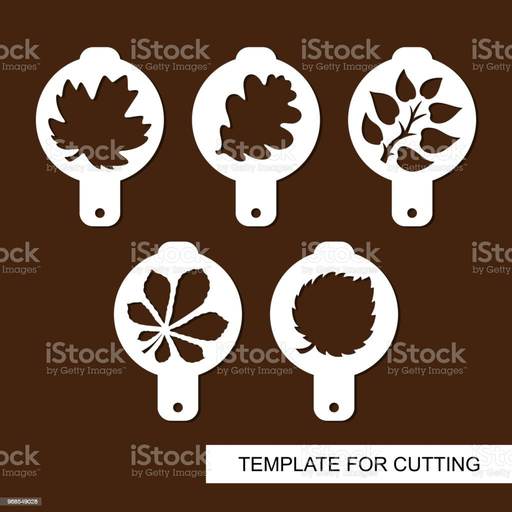 Set of coffee stencils. For drawing picture on cappuccino, macchiato and latte. Floral theme.