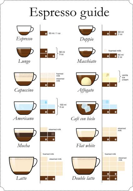 Set of coffee types. Vector illustration. Can be used for menu restaurant, cafe, promo, advertising, etc. espresso stock illustrations
