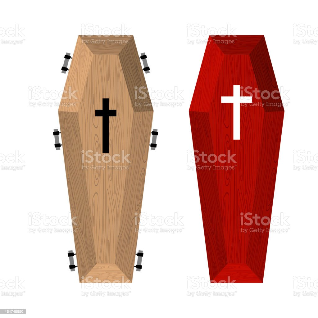 Set of coffins. Red beautiful expensive coffin  wooden vector art illustration