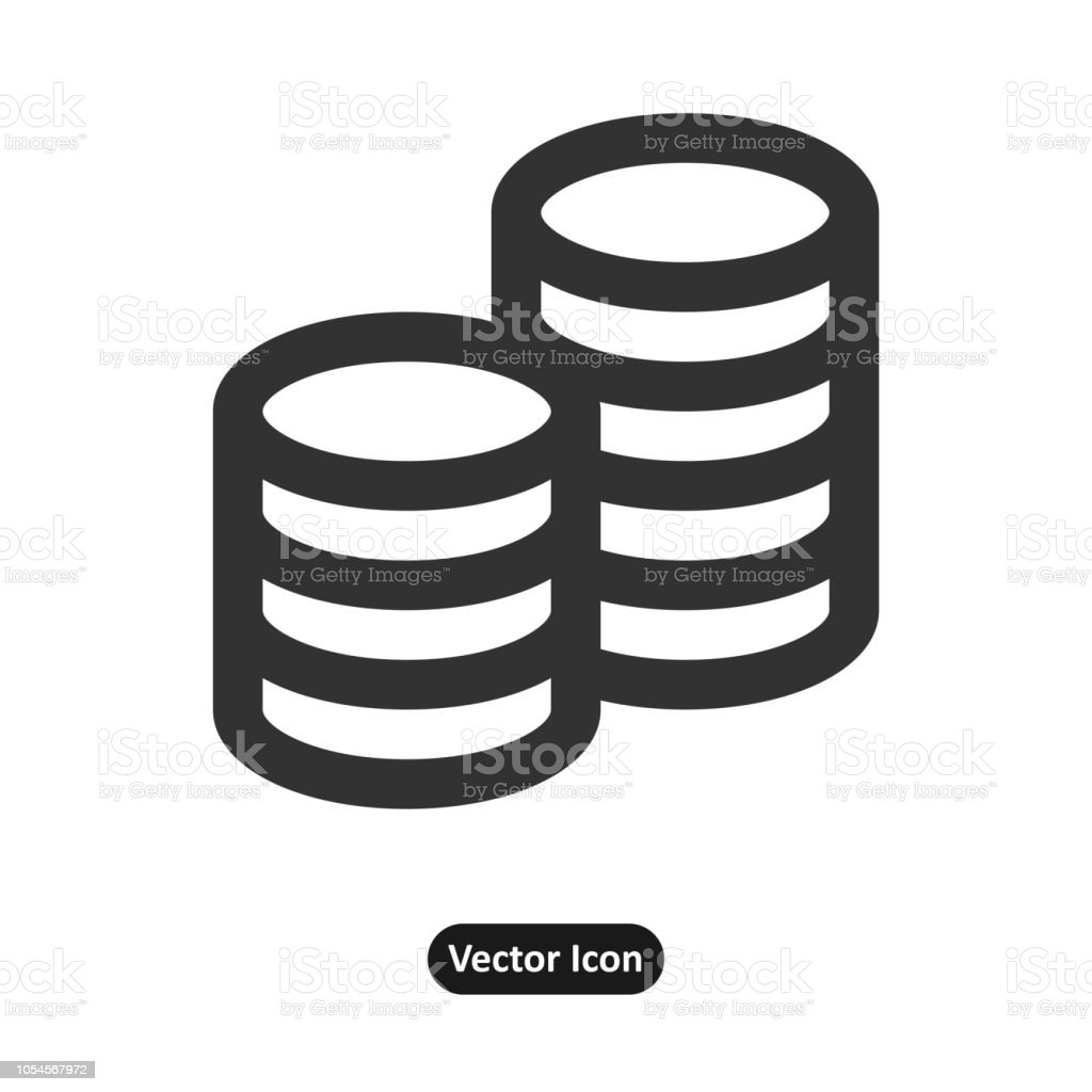 set of coins and a dollar coin vector art illustration