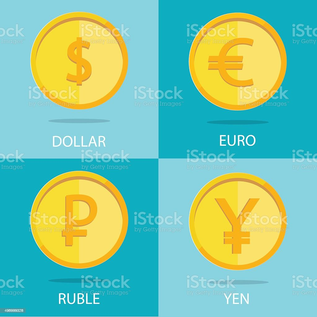 set of  coins on colorful background, euro, dollar, ruble, yen vector art illustration
