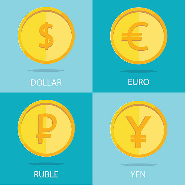 set of  coins on colorful background, euro, dollar, ruble, yen Modern vector set of gold coins on colorful background, euro, dollar, ruble, yen chinese yuan note stock illustrations