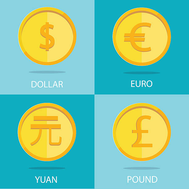 set of  coins on colorful background, euro, dollar, yuan, pound Modern vector set of gold coins on colorful background, euro, dollar, yuan, pound chinese yuan note stock illustrations