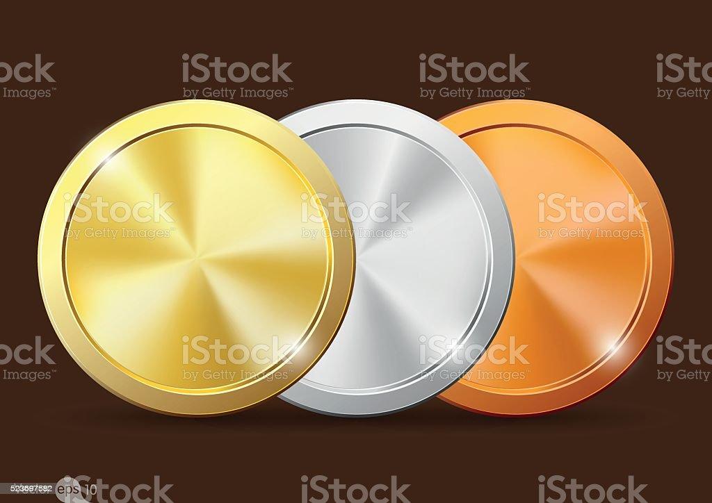 set of coins vector art illustration