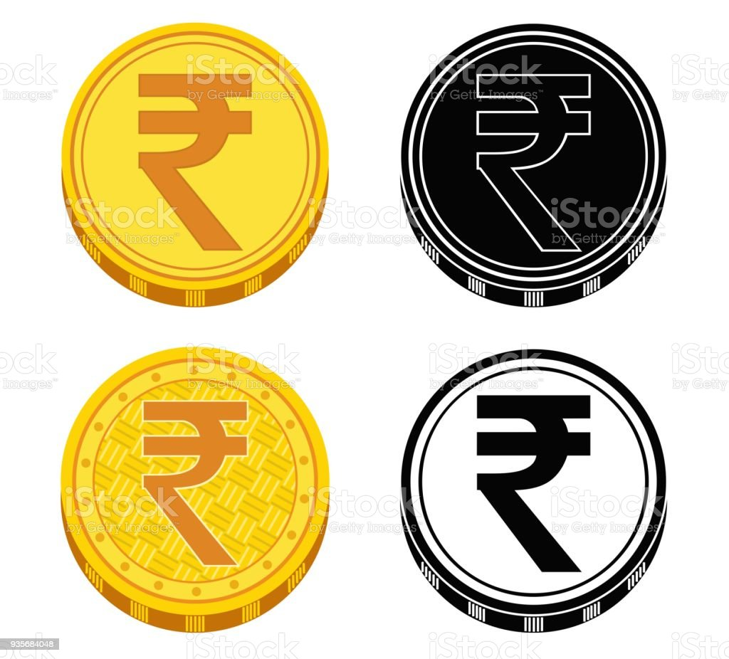 Set Of Coins With Money Symbols Of India Vector Illustration Stock