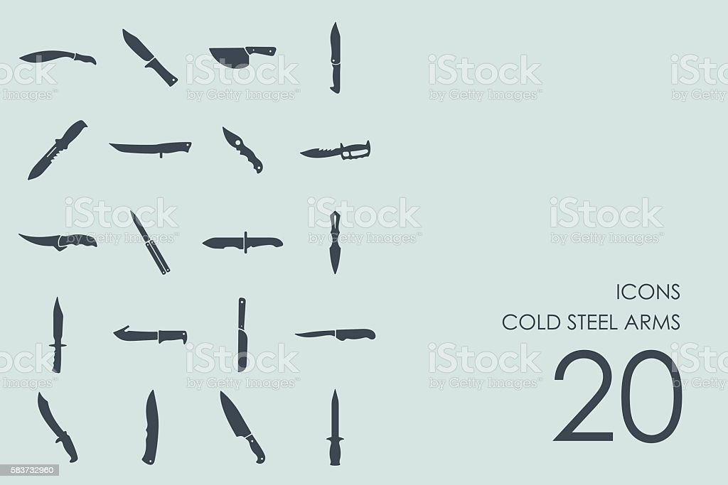 Set of cold steel arms icons vector art illustration