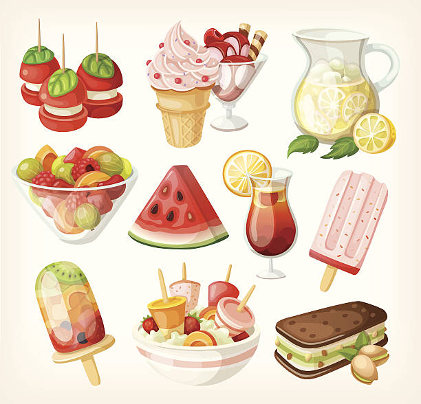 ilustrações, clipart, desenhos animados e ícones de conjunto de verão frio comida doce - fruit salad