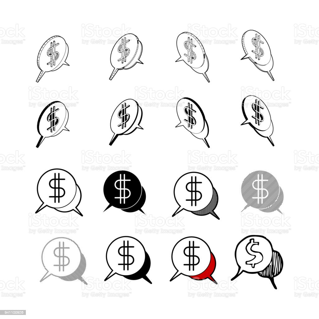 Set Of Collection Modern Vector Money Chat Icon Multi Type