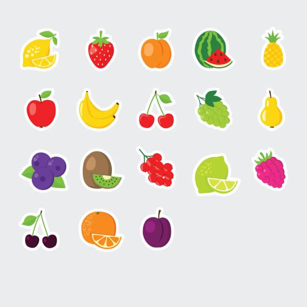 set of colofrul fruit icons vector art illustration