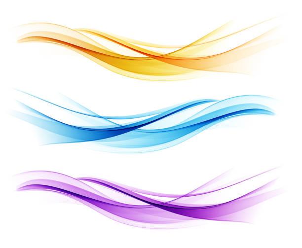 Set of color abstract wave design element Vector Set of color abstract wave design element. Abstract background, color flow waved lines for brochure, website, flyer design. Transparent smooth wave. Purple, gold, blue curve stock illustrations