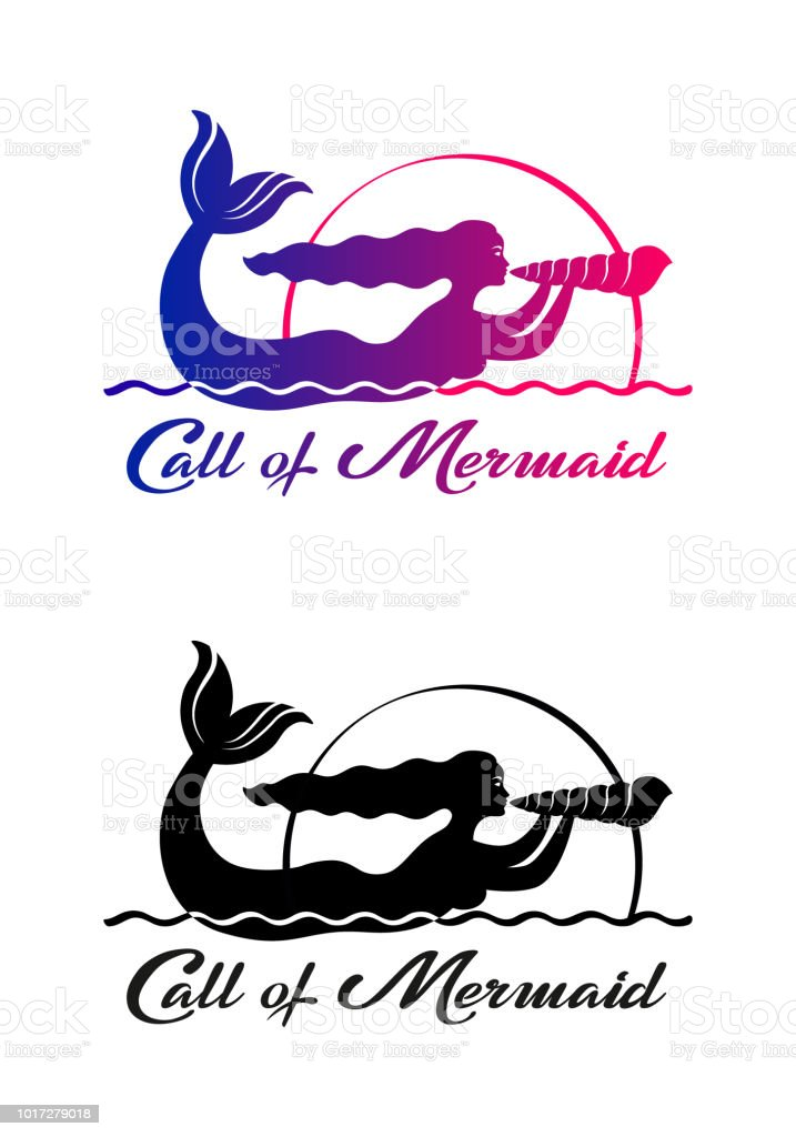 set of color and black graphic drawings of a mermaid singing on a