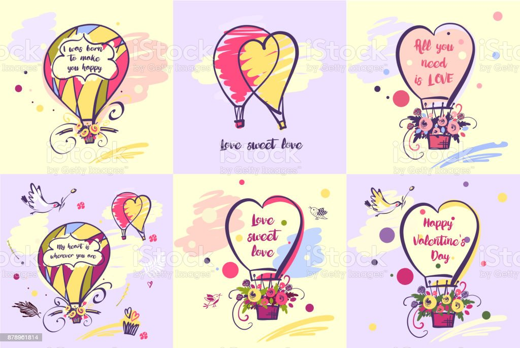 Set of color balloon. Happy valentines day. Many quote about love vector art illustration