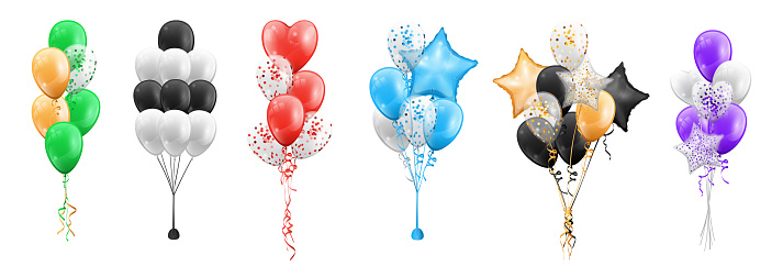 Set of color balloons bunches isolated icons. Vector bundles of cartoon balloons in shape of stars, circles and hearts. Party decorations, helium balls birthday, anniversary wedding decor