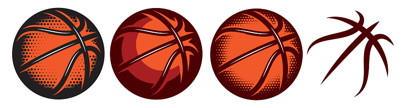 A set of color basketballs with different designs. Templates for logo design. Vector isolated illustration