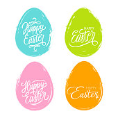 Set of color brush stroke easter eggs with handwritten wishes of a Happy Easter. Vector illustration.