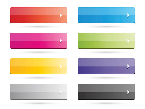 Set of Color buttons with arrows and shadow vector art illustration