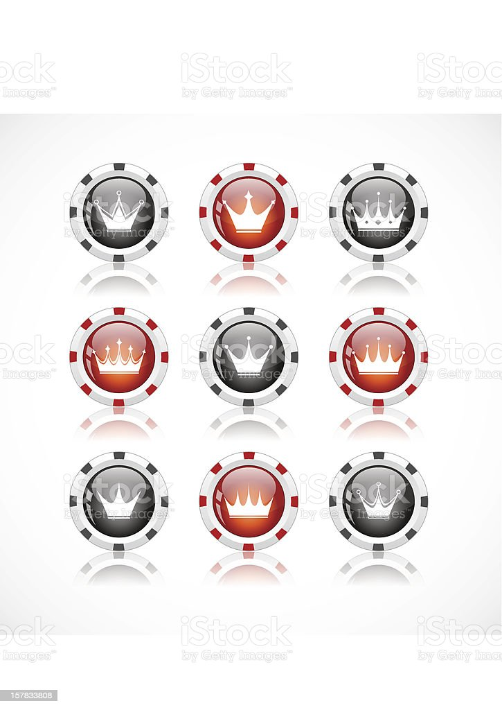 Set of color buttons with crown icons royalty-free stock vector art