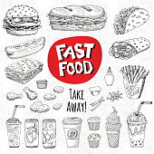 Vector set of food Sketch style Fast food Hamburger, taco, burrito, chicken, potato, fries, sandwich coffee, lemonade, ice cream, hot dog, ketchup mustard, soda, beer Hand drawn design elements.