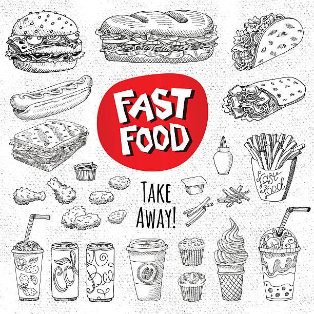 set of color chalk drawn on a blackboard food - sandwiches stock-grafiken, -clipart, -cartoons und -symbole
