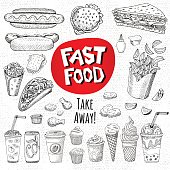 Vector set of food Sketch style Fast food Hamburger, taco, burrito, chicken, potato, fries, sandwich, coffee, lemonade, ice cream, hot dog, ketchup mustard, soda, beer Hand drawn design elements