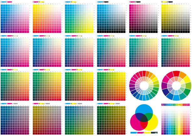 stockillustraties, clipart, cartoons en iconen met set van kleurenkaart - kleurenwaaier