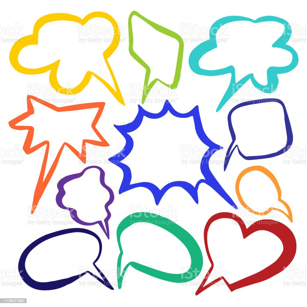 Set Of Color Cloud Speech Bubble With Place For Text