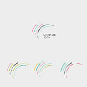 set of color curve dots style icon for design