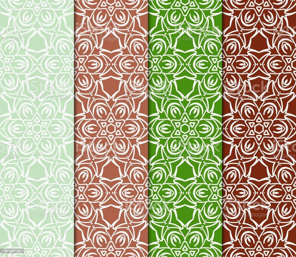 Elegant Satz Von Farbe Dekorative Florale Jugendstil Ornament. Moderne Muster. Für  Design, Textil,
