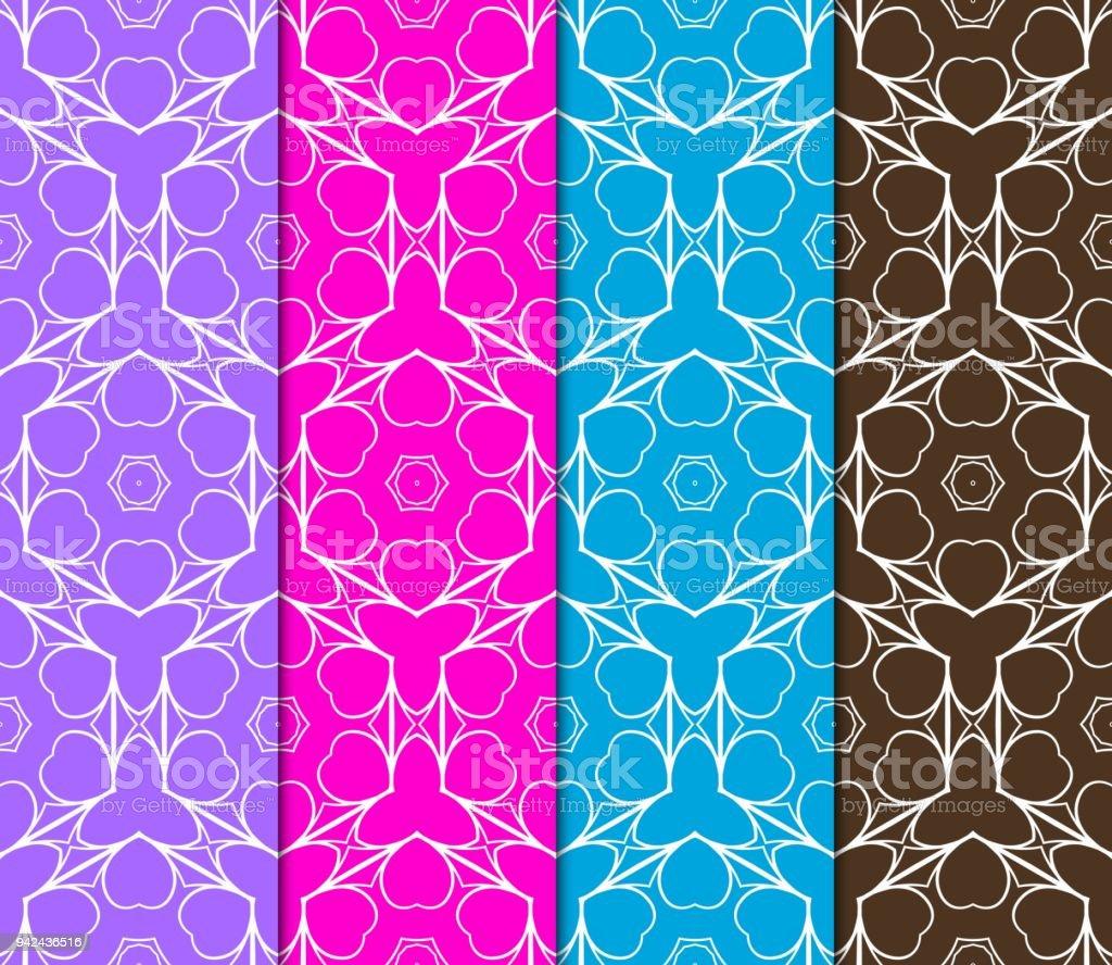 set of color decorative floral art deco ornament modern pattern for